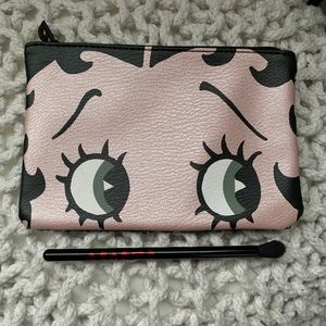 Betty Boop rose gold Ipsy bag and makeup brush